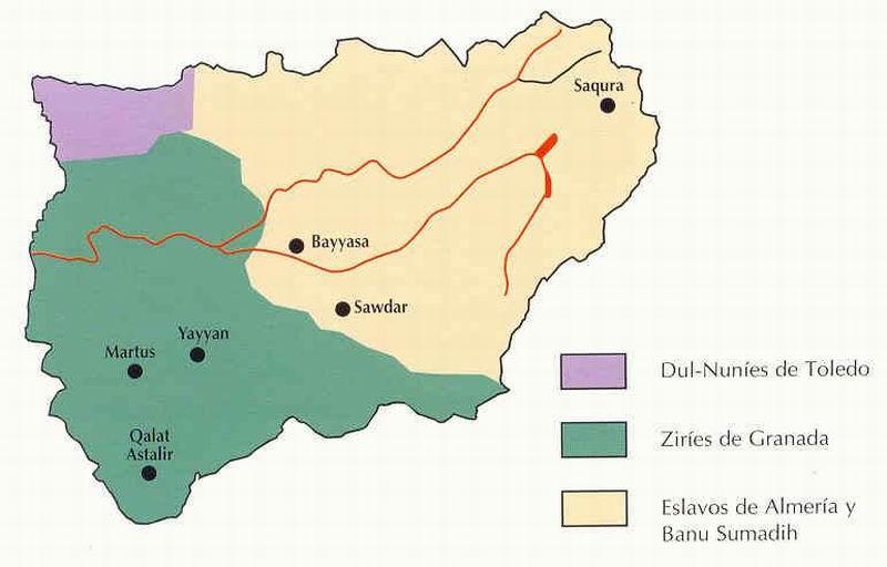 5- Territorio jiennense en 1028, según zonas de influencia (Aguirre y M.C. Jiménez)